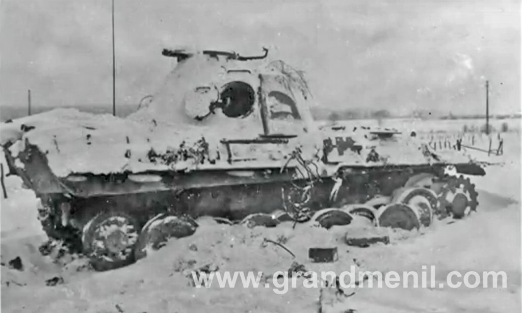 knocked out panther tank between manhay and grandmenil